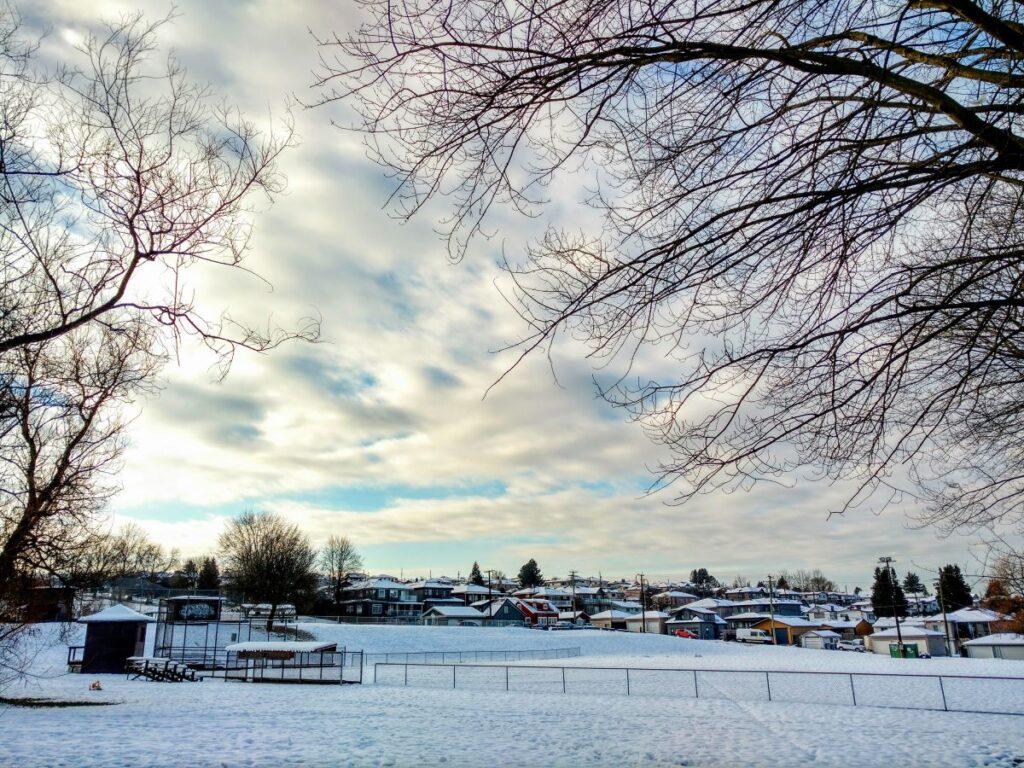 Falaise Park after snow under the Sun