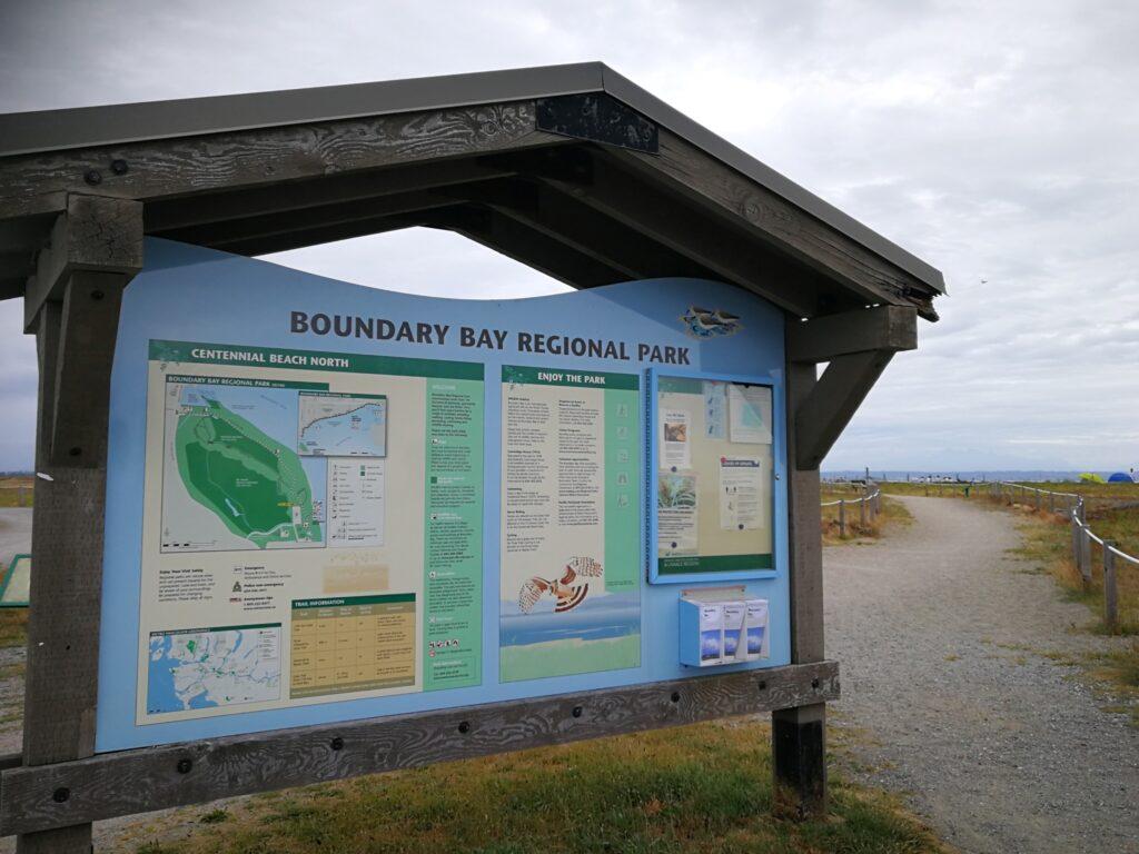 Boundary Bay Regional Park sign board