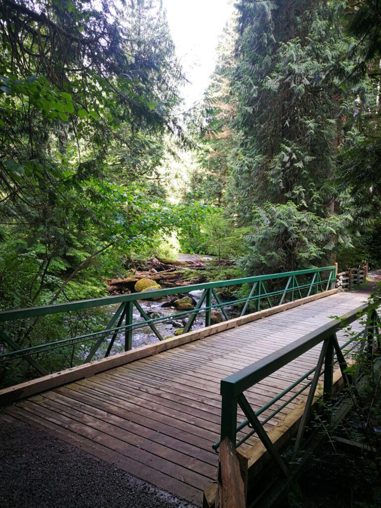 Steel and wooden bridge over Kanaka Creek