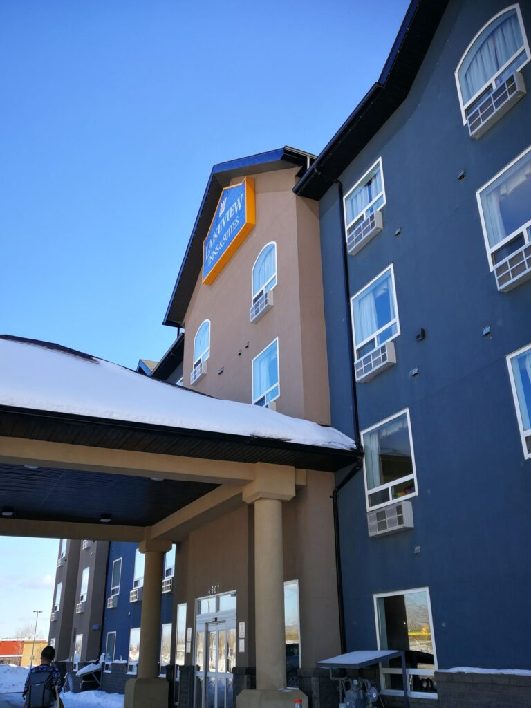 Entrance of Lakeview Inn Hotel Fort Nelson