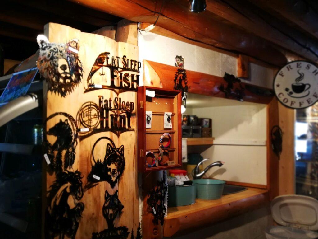 A corner of the gift shop at Tetsa River