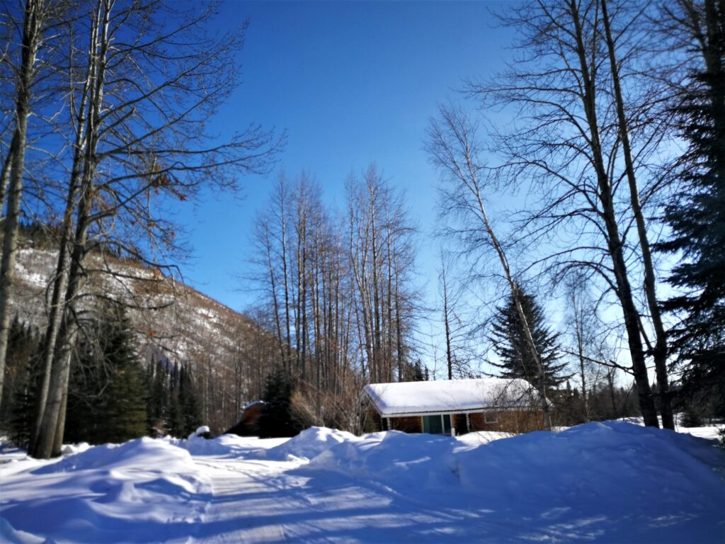 Snow-covered cabins at Tetsa River Campground