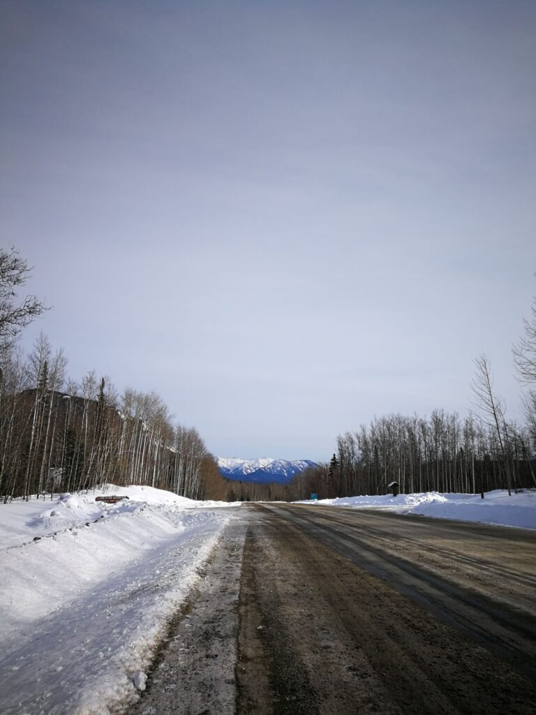 road leading to Liard River Hot Spring entrance