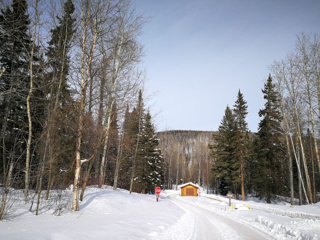 Toll booth at Liard River Hot Springs Campground closed in winter