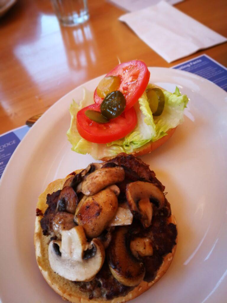 Burger lunch at Northern Rockies Lodge