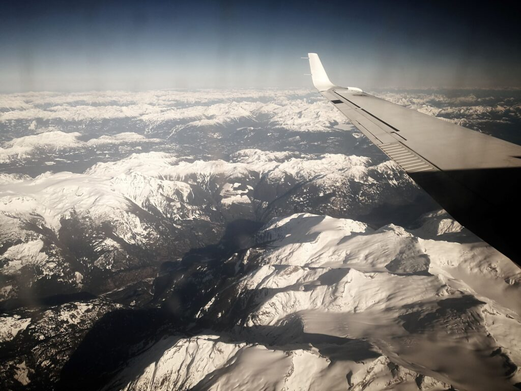 aerial view of the coastal mountains from Pacific Coastal Air
