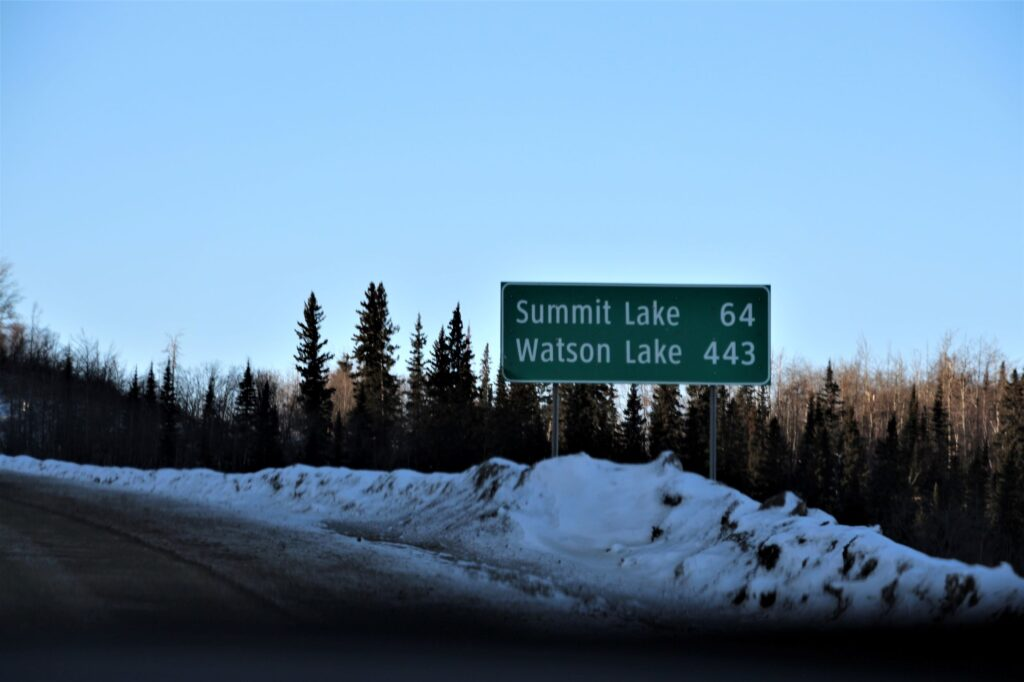 Road sign north of Fort Nelson
