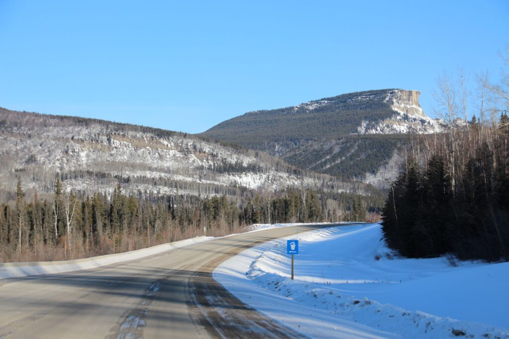 Scenery near 329 Miles (526.1km) from Dawson Creek, with Steamboat Mountain not far away