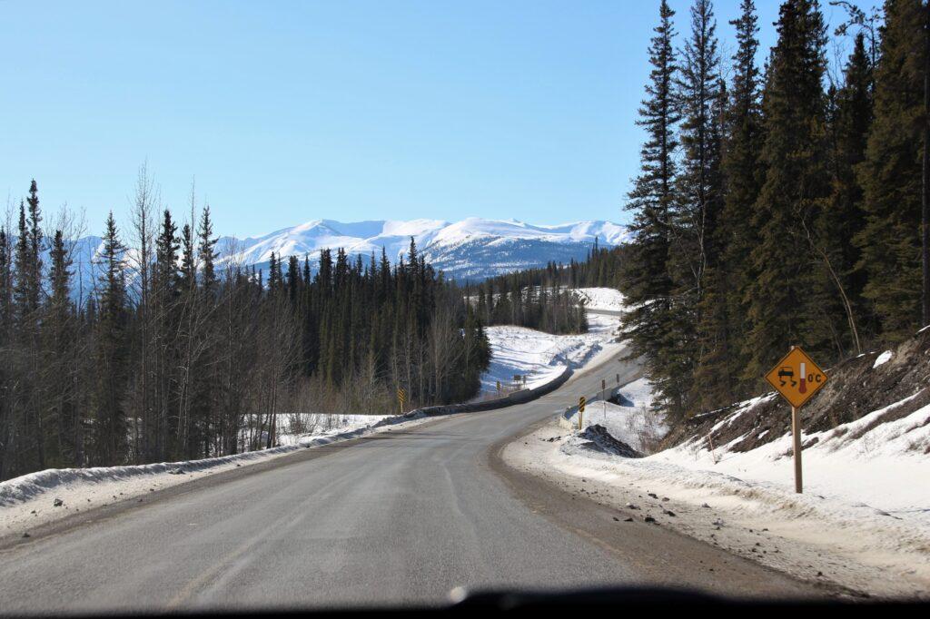 Alaska Highway zigzagging towards Muncho Lake
