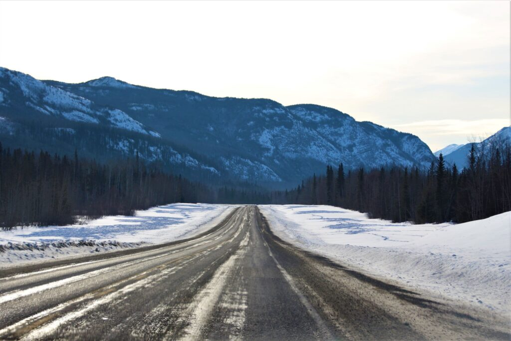 Alaska highway west of Liard River Hot Springs with lots of bison tracks on the snow