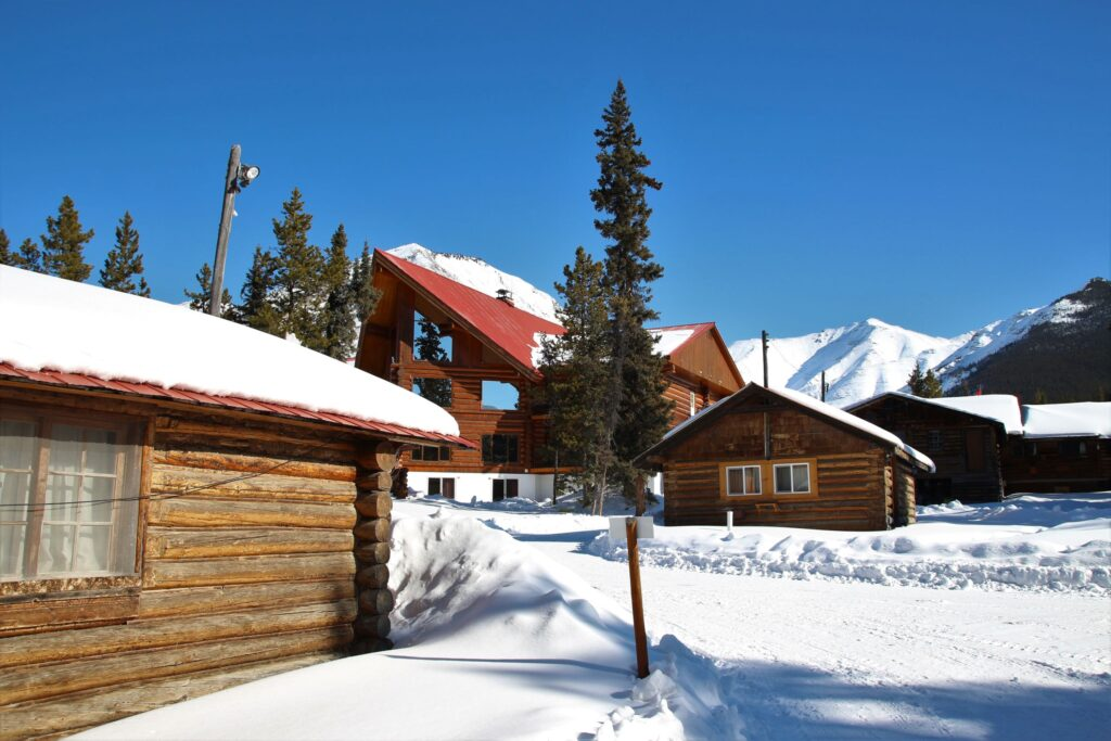 Rear view of the main lodge of Northern Rockies Lodge