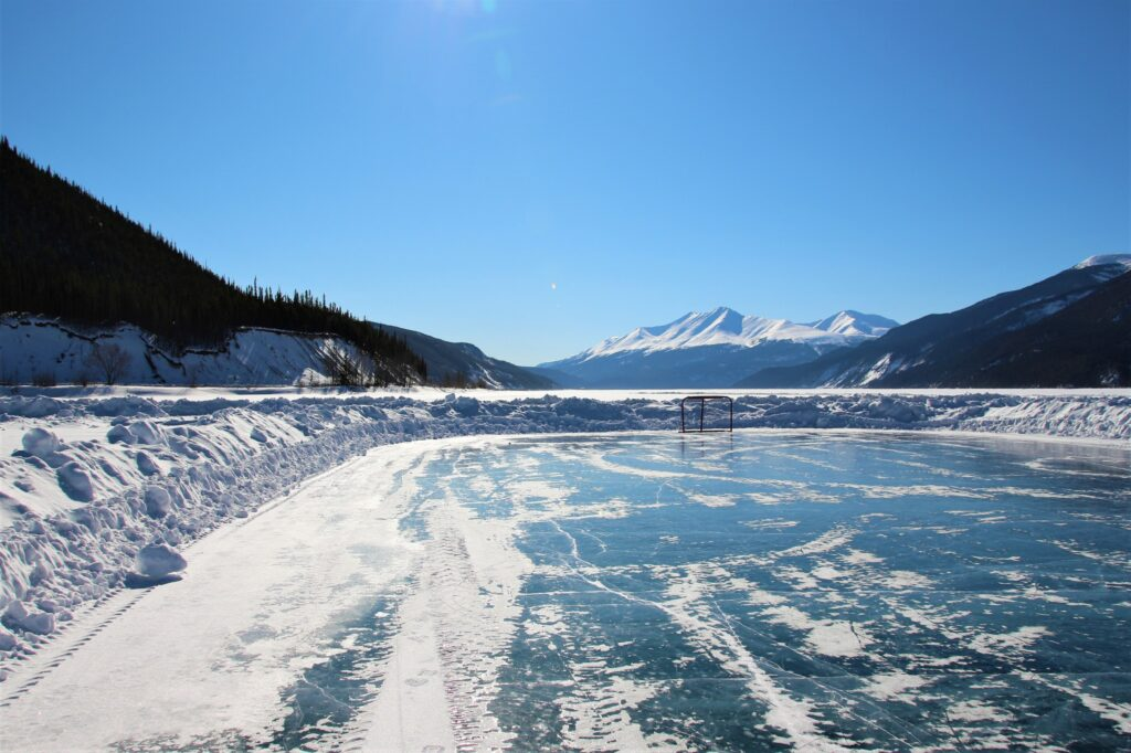 ice ring on the frozen Muncho Lake