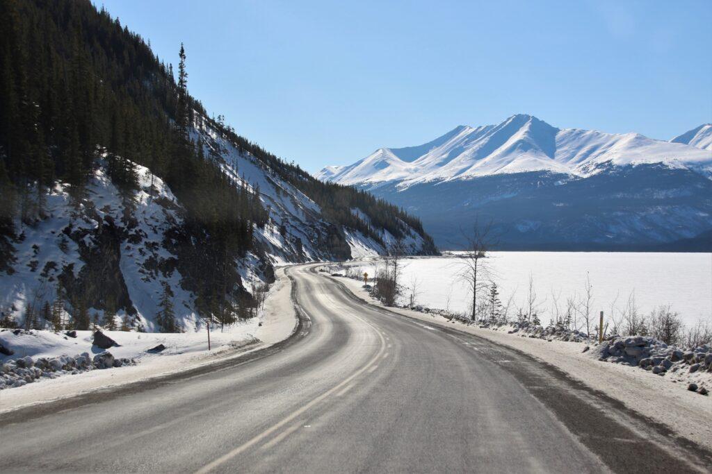 Scenic drive along Muncho Lake