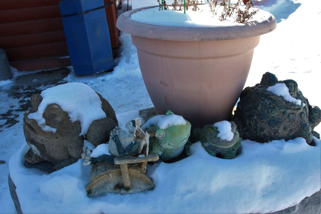 Planter and cute toad decorations in front of the lodge