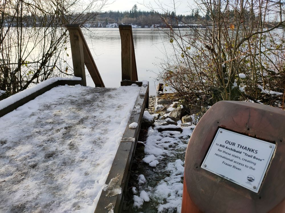 Bill Archibald Memorial Plaque and stairway leading to Fraser River