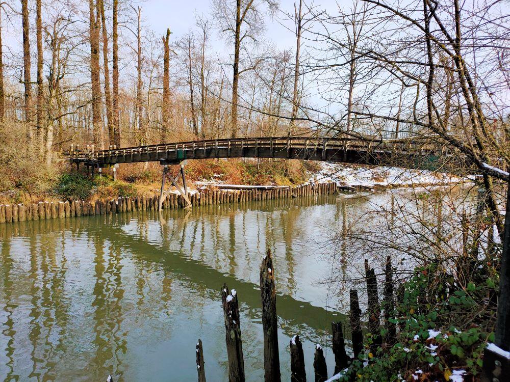 Closer look at pedestrian bridge at the river mouth of Kanaka Creek