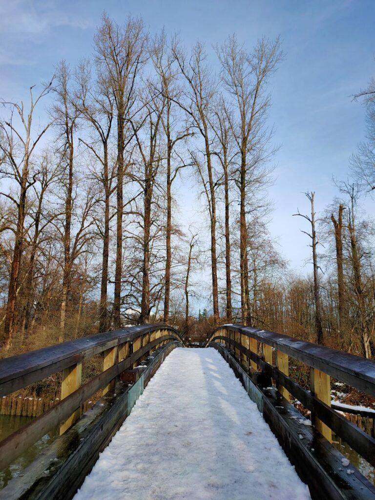 snow-covered pedestrian bridge over Kanaka Creek