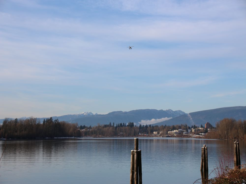 View of Fort Langley and Derby Reach across Fraser River