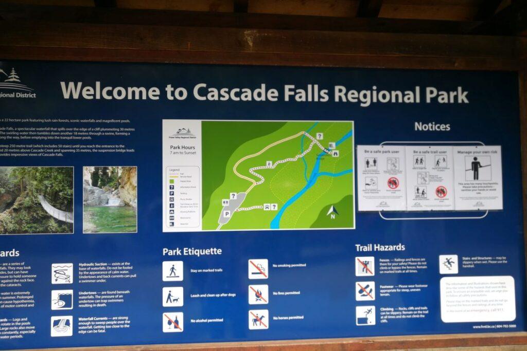 Cascade Falls Regional Park signage