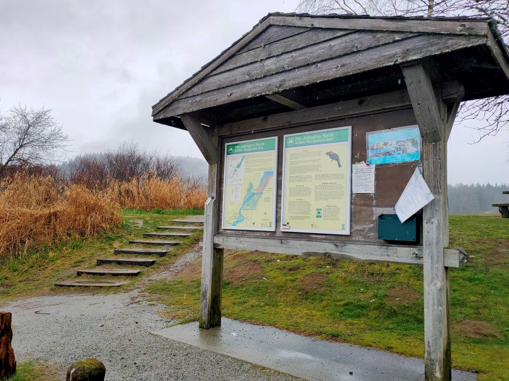 Signboard and picnic area