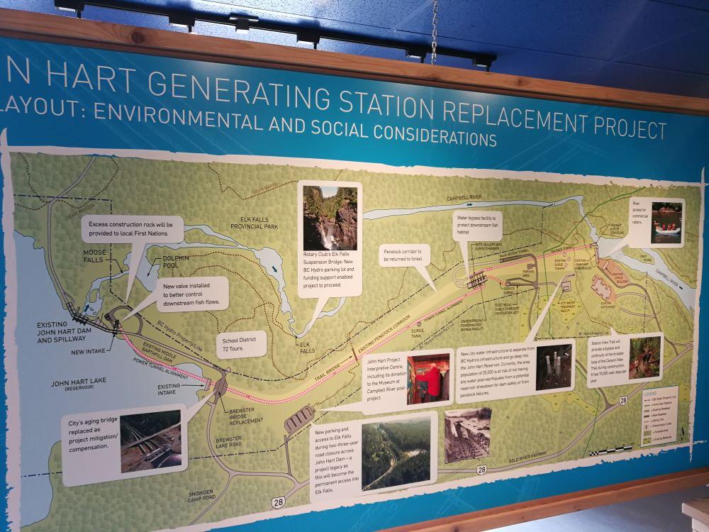 Signage of John Hart Dam Replacement map