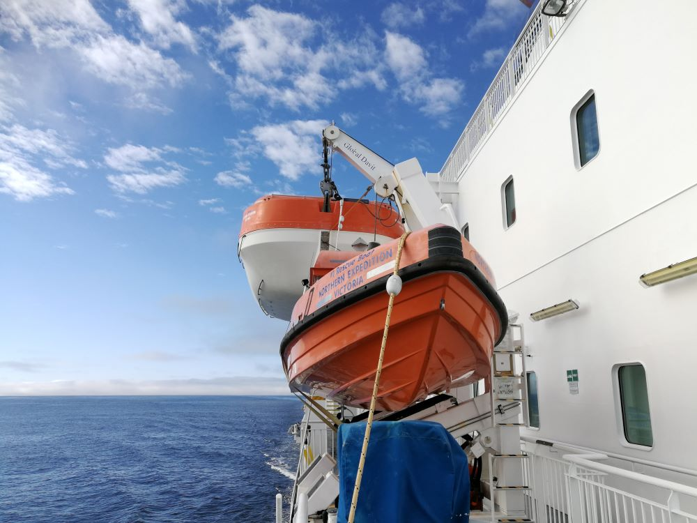 Life craft attached to the side of Northern Expedition