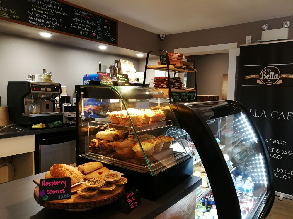 Cafe Bella's counter with pastries