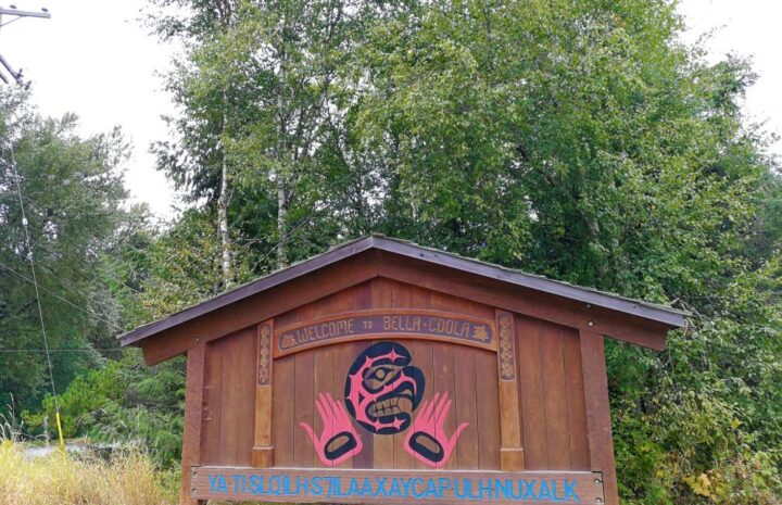 Bella Coola Village sign at the town entrance