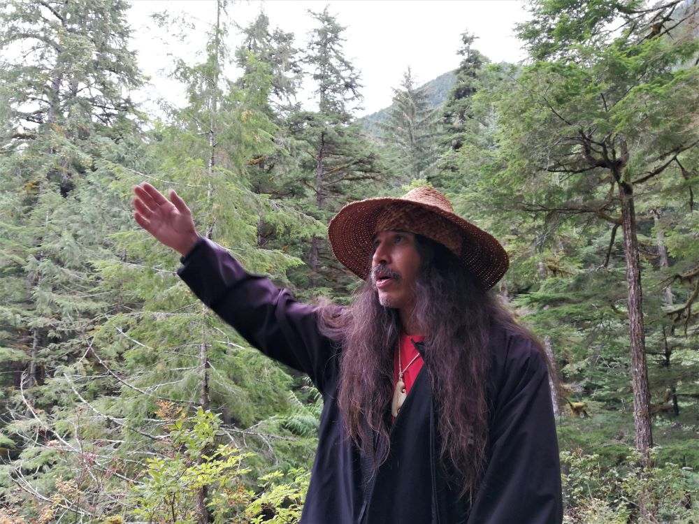 Tour guide Clyde asked for ancestors permission to allow him to bring the visitors into the sacred forest