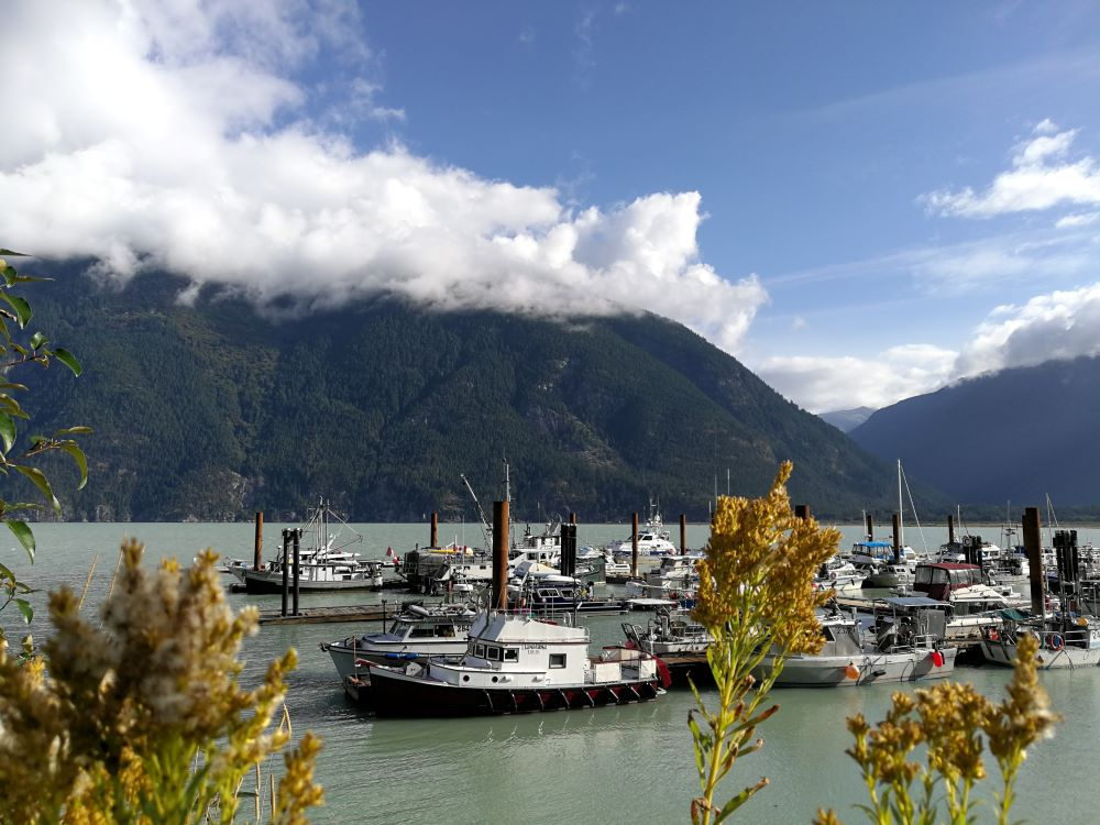 yachts and boats at Bella Coola Harbour with mountains in the background
