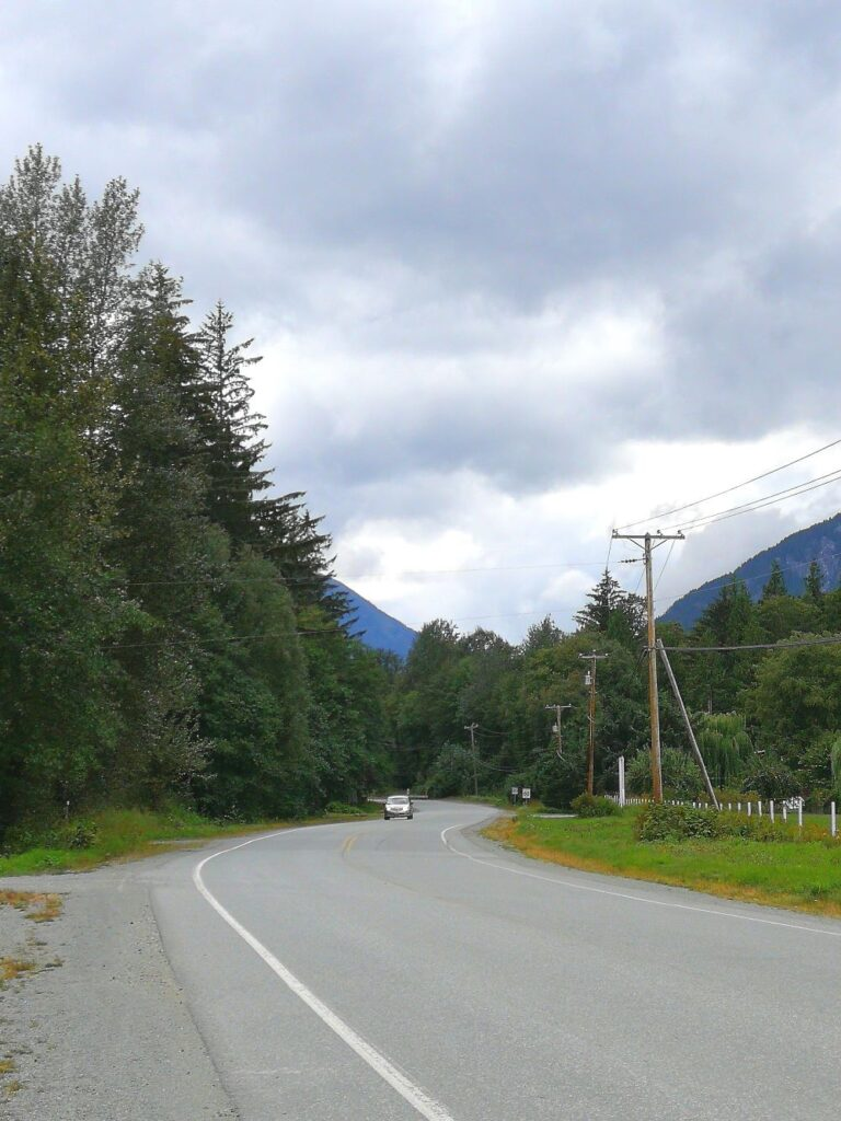 view of the winding highway connected Bella Coola and Hagensborg