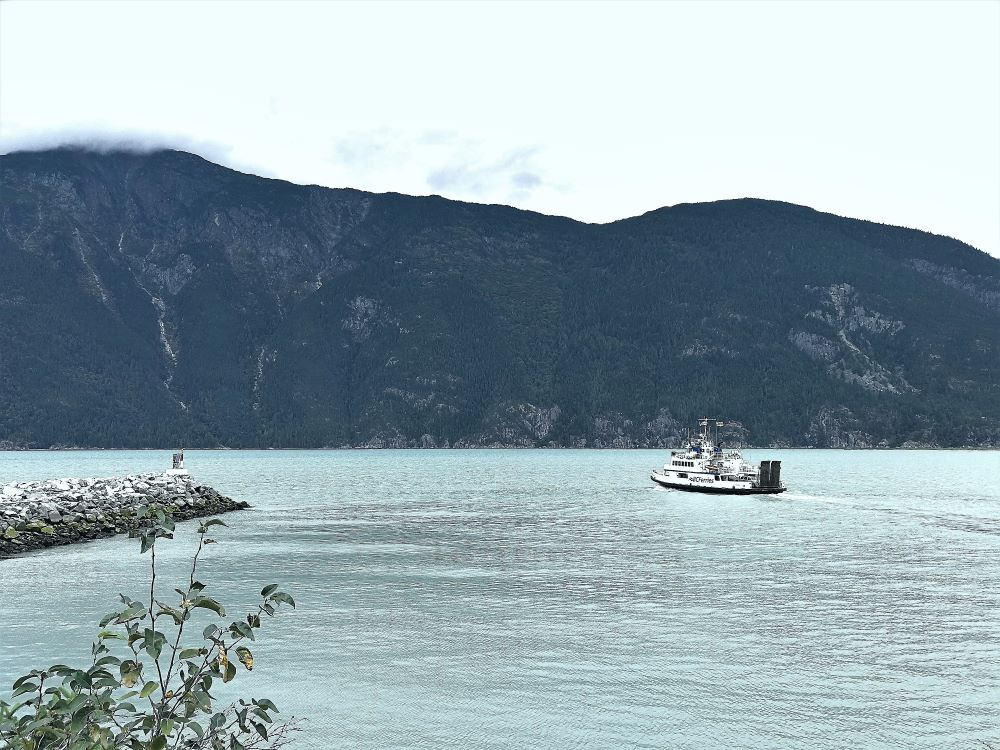 Nimpkish Ferry sailing away from the Bella Coola Harbour, Nimpkish since was sold in 2020