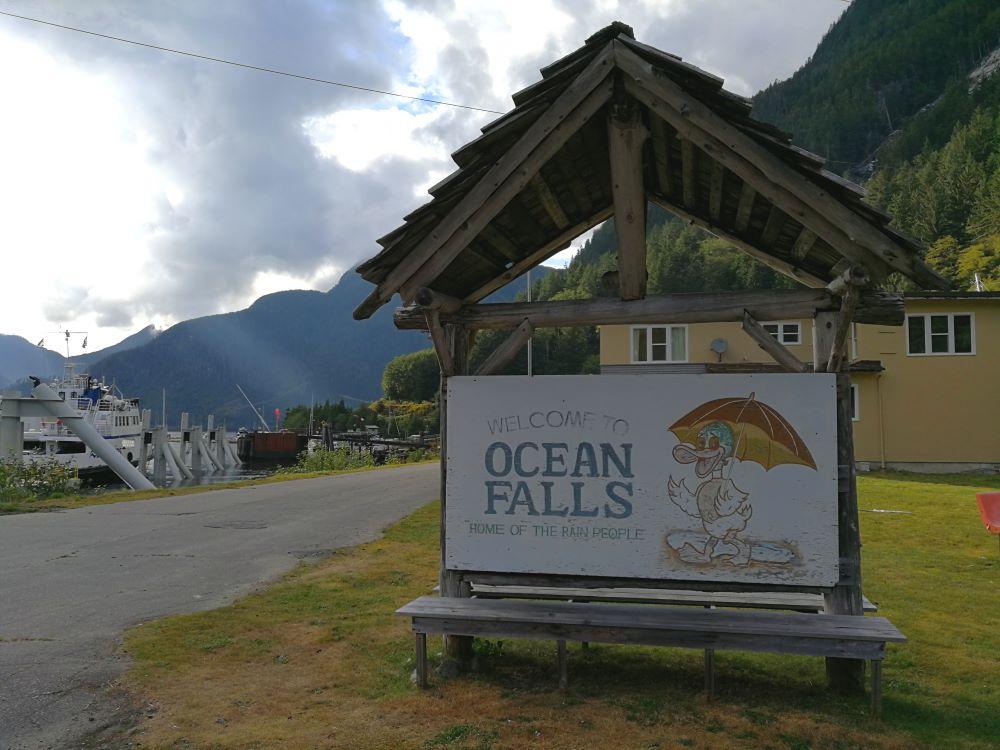 Ocean Falls Home of Rain People signage