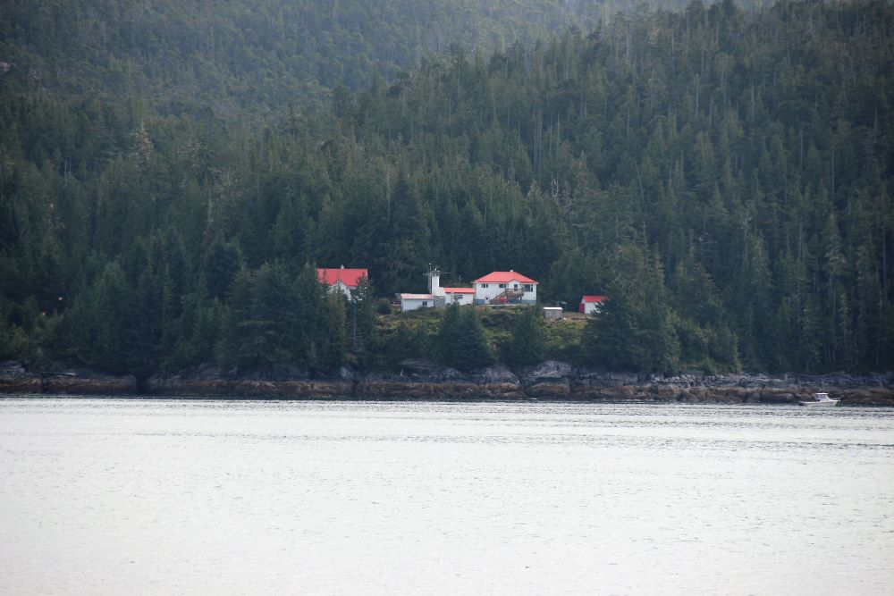 Pine Island Lighthouse between  Queen Charlotte Strait and Queen Charlotte Sound