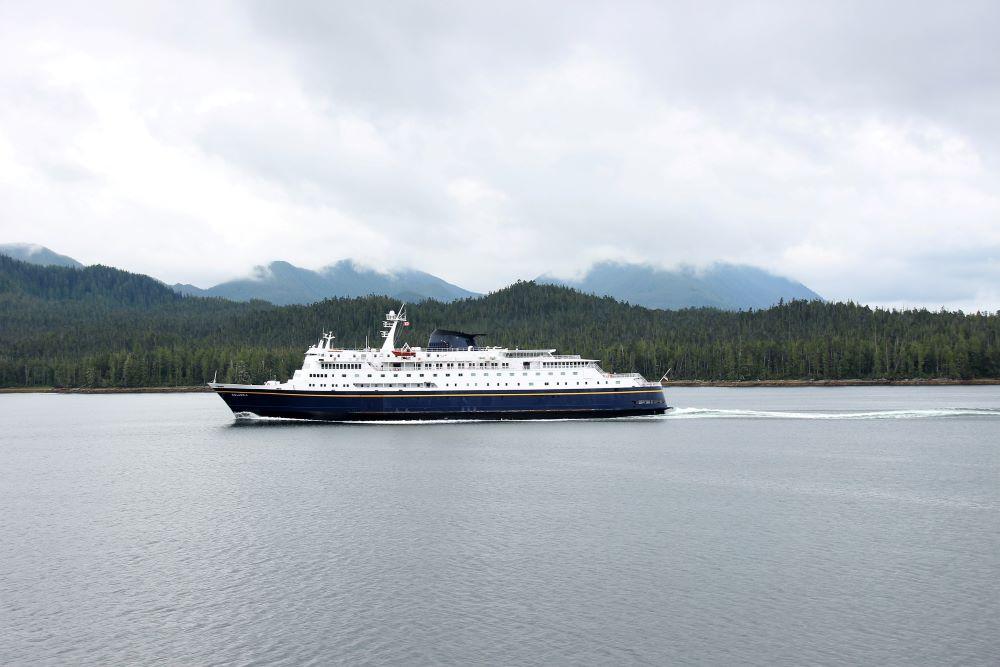 Cross path with Alaska Marine Highway System's MV Columbia Ferry at Bella Bella