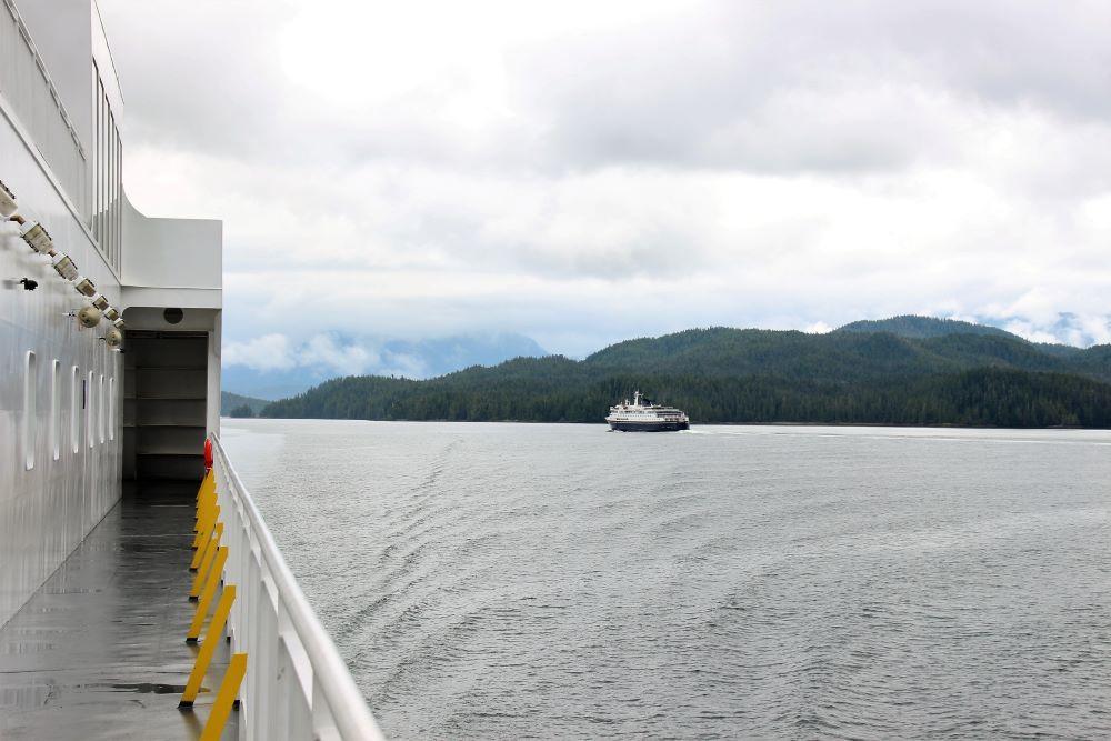 Cross path with Alaska Ferry at Bella Bella