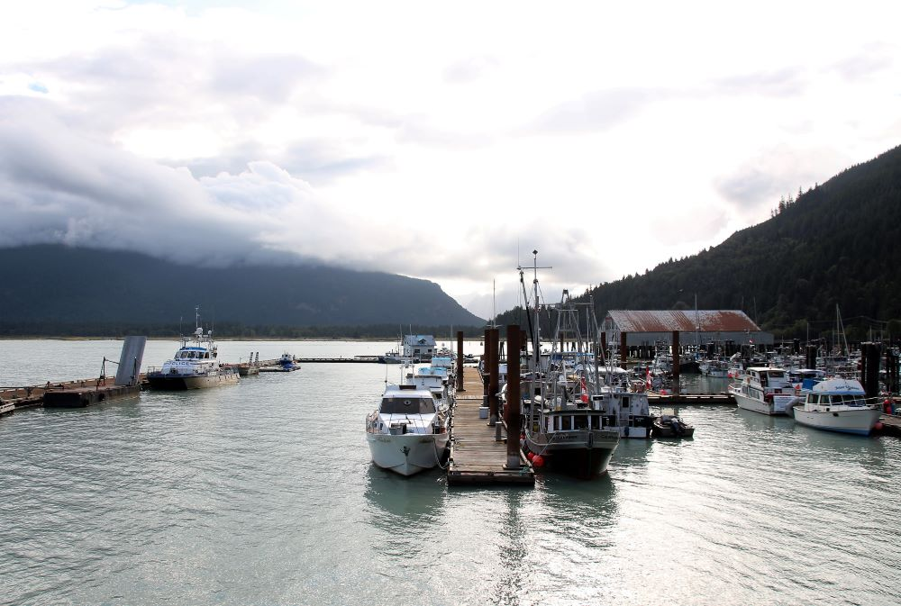 Bella Coola Harbour with Old Cannery Building in the background, the building since was burnt down in 2019